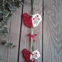 Bordó- tulipános-Kis madaras kerámia ajtó dísz , Dekoráció, Otthon, lakberendezés, Karácsonyi, adventi apróságok, Ünnepi dekoráció, Kerámia, A tulipán a Teremtő a Szent hármasság jelképe.A nőiességre,érzékiségre a szerelemre is utal. Ezt az..., Meska