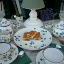Vidéki romantika-kékfestő kerámia teás készlet , Konyhafelszerelés, Otthon, lakberendezés, Dekoráció, Bögre, csésze, Kerámia, Festett tárgyak, Kékfestő romantikus teás készlet. Fehér agyagból,mázalatti festékkel,egészségre ártalmas anyag ment..., Meska