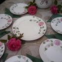 Rózsás-romantikus süteményes készlet, Esküvő, Konyhafelszerelés, Dekoráció, Otthon, lakberendezés, Kerámia, Festett tárgyak, Fehér agyagból,mázalatti festékkel,egészségre ártalmas anyag mentes mázzal készítettem ezt a Sütemé..., Meska