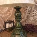 Zöld népiesen romantikus-egyedi kerámia lámpaváza, Otthon, lakberendezés, Dekoráció, Lámpa, Asztali lámpa, Kerámia, Szobrászat, Fehér agyagból készítettem ezt a lámpavázát.A testen körbefutnak domborodott indák,virágok. Gyönyör..., Meska