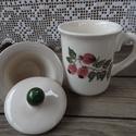 Tea-minden napra-hűvös  estékre Szűrős teás bögre , Konyhafelszerelés, Otthon, lakberendezés, Baba-mama-gyerek, Bögre, csésze, Kerámia, Festett tárgyak, Fehér agyagból,mázalatti festékkel,egészségre káros anyag mentes mázzal készítettem ezt a szálas és..., Meska