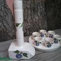 Egy igazán ütős pálinkához:)Kerámia-szilvás Pálinkás készlet, Konyhafelszerelés, Férfiaknak, Esküvő, Bögre, csésze, Fehér agyagból,készítettem ezt a pálinkás készletet . Máz alatti festékkel kék szilvával ..., Meska