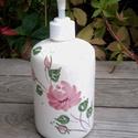 Rózsás kerámia folyékony szappan adagoló, Szépségápolás, Otthon, lakberendezés, Baba-mama-gyerek, Szappan, tisztálkodószer, Kerámia, Fehér agyagból,egészségre káros anyagot nem tartalmazó mázzal készítettem ezt a szappan adagolót. A..., Meska