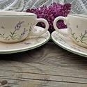 Levendulás teás....kávés, Konyhafelszerelés, Esküvő, Baba-mama-gyerek, Bögre, csésze, Kerámia, Festett tárgyak, Fehér agyagból,mázalatti festékkel,egészségre káros anyag mentes mázzal készítettem ezt a teás csés..., Meska