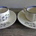 Kék nefelejcs pocakos kávés csésze , Konyhafelszerelés, Magyar motívumokkal, Esküvő, Bögre, csésze, Kerámia, Festett tárgyak, Romantikus kávézáshoz készítettem ezt a kék nefelejcses pocakos  kávés készletet. Szerelmeddel ,bar..., Meska