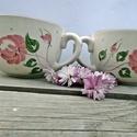Mályva-Rózsás-romantikus bögre pár, Baba-mama-gyerek, Konyhafelszerelés, Esküvő, Bögre, csésze, Kerámia, Festett tárgyak, Romantikus..púder és mályva....zölddel. Barátnőddel,szerelmeddel édesanyáddal teázhatsz romantikus ..., Meska