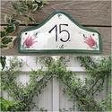 Tulipános  kerámia házszám, Dekoráció, Otthon, lakberendezés, Utcatábla, névtábla, Kerti dísz, Festett tárgyak, Kerámia, Egy jól választott egyedi utca vagy házszám kiemeli hangsúlyozza otthonunk. Ehhez próbálok segítség..., Meska