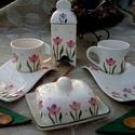 Kerámia egyedi  tulipános reggelizős készlet vajtartóval, Konyhafelszerelés, Otthon, lakberendezés, Esküvő, Bögre, csésze, Kerámia, Egy bájos jókedvre derítő pink tulipános készlettel lepheted meg magad vagy szerettedet. Fehér agya..., Meska