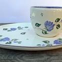 Egy tea veled- romantikus kék állomban, Konyhafelszerelés, Esküvő, Baba-mama-gyerek, Bögre, csésze, Kerámia, Festett tárgyak, Romantikus vidéki hangulatú kék virágos reggeliző készlettel lepheted meg szerettedet.  Fehér agyag..., Meska