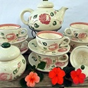 Rózsás-romantikus teás 6 személyes készlet , Konyhafelszerelés, Esküvő, Nászajándék, Bögre, csésze, Kerámia, Rózsás ...romantikus..eperhabos..álom. A szeretet és a szerelem virágának a rózsát tartják. Ez a le..., Meska