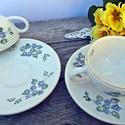 Kék nefelejcs-2 személyes teás, Otthon, lakberendezés, Dekoráció, Konyhafelszerelés, Bögre, csésze, Kerámia, A tavasz a megújulás, a természet újjászületésének ideje. Apró kék nefelejcseket , csipkével,pöttyö..., Meska