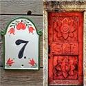 Piros tulipán szívvel kerámia  házszám tábla, Mindenhol jó de legjobb OTTHON! Egy hosszú fára...