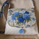 Kékrózsás táska, Táska, Válltáska, oldaltáska, Varrás, A kék rózsa mindig különleges!  Megörültem mikor ilyen anyagot találtam... Hozzá illő bézses anyago..., Meska