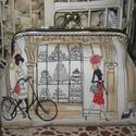 Párizsi kirakatok, Táska, Neszesszer, Pénztárca, tok, tárca, Minőségi, amerikai textilből készült tárca. Vidám, fiatalos, francia mintával. Bélése szí..., Meska