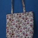 baglyos mintás táska, Táska, Szatyor, Varrás, Vállon hordható kifordítható táska,  baglyokkal, belseje pedig piros alapon apró virágok.  Pántja 6..., Meska
