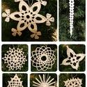 Fehér csipke ajándékkísérő, karácsonyfadísz, Dekoráció, Karácsonyi, adventi apróságok, Ünnepi dekoráció, Karácsonyi dekoráció, Karácsonyfadísz, Ajándékkísérő, képeslap, Horgolás, A fotókon 8 db hófehér, horgolt, kikeményített, különféle formájú, akasztóval ellátott díszt láthat..., Meska