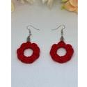 Flower piros fülbevaló, Piros színű pamut zsinórral készült 2 cm kör...