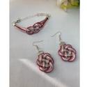 Rózsaszín szett, Három színű szatén zsinórból készült fülb...