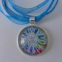 Bloom nyaklánc - #2, Ékszer, Nyaklánc, Különleges akvarell virágmintás medállal készült nyaklánc, organzás viaszolt szálra fűzve..., Meska