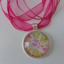 Bloom nyaklánc - #3, Ékszer, Nyaklánc, Különleges akvarell virágmintás medállal készült nyaklánc, organzás viaszolt szálra fűzve..., Meska