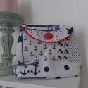 Textil neszesszer #6, Táska, Neszesszer, Tengerész mintájú textilből készült, patenttal záródó, puha tapintású neszesszer. Belül ..., Meska