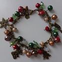 Bronz karácsonyi karkötő, Ékszer, óra, Karkötő, Piros, zöld, arany és opálos gyöngyökből állítottam össze ezt az ünnepi karkötőt.  Kará..., Meska