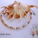 Tenyésztett gyöngy szett, Ékszer, Ékszerszett, Fülbevaló, Nyaklánc, Tenyésztett gyöngy szett  A szett 3 színű tenyésztett gyöngyből készült - fehér - rózsasz..., Meska
