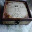 Vitruvian Man..., Otthon, lakberendezés, Dekoráció, Férfiaknak, Tárolóeszköz, Antikolt/pácolt dobozka... melynek tetejét Leonardo: Vitruvian man munkája, oldalát a festő, és felt..., Meska