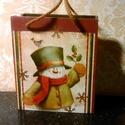 """Ajándékátadó """"szatyorka""""..., Baba-mama-gyerek, Karácsonyi, adventi apróságok, Ajándékzsák, Karácsonyi dekoráció, Decoupage, transzfer és szalvétatechnika, Festett tárgyak, Fából készült téli/karácsonyi ajándékátadó... A későbbiekben akár """"váza""""-ként is működhet... Mérete..., Meska"""