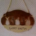 Húsvéti vendégváró..., Dekoráció, Otthon, lakberendezés, Húsvéti díszek, Utcatábla, névtábla, Kedves, kis ajtótáblácska... Üdvözli... az ajtónkon kopogtatókat is... Kérésre... a raffia lácot  vé..., Meska