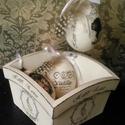Vintage Húsvét... , Dekoráció, Húsvéti díszek, Otthon, lakberendezés, Ünnepi dekoráció, Decoupage, transzfer és szalvétatechnika, Festett tárgyak, Vintage stílusú húsvéti tál...és 3 vintage tojás...   A tál mérete: 16x16x9 cm A tojások átmérője: ..., Meska