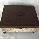 Teás teás-doboz..., Ez egy 20X15X8 cm-es antikolt vintage dobozka (tea...