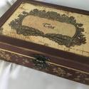 Teázáshoz..., Elegáns, antik, 12 rekeszes teás doboz...  Mére...