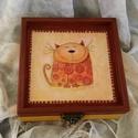 Cicóóó... :), Otthon, lakberendezés, Dekoráció, Tárolóeszköz, Doboz, Egy boldog kiscica... elégedett mosollyal a bajsza alatt... :) Mérete: 14x14x6 cm , Meska