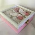 Pillangós... Apróság... , Dekoráció, Otthon, lakberendezés, Tárolóeszköz, Elegáns hölgyek elegáns apróságainak készült ez az apró dobozka...  Mérete: 11x11x5 cm, Meska
