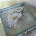 Viragom, viragom..., Otthon, lakberendezés, Dekoráció, Tárolóeszköz, Pár hófehér virágról készült festmény fotója díszíti a dobozkát... elegáns dobozka, elegáns hölgyekn..., Meska
