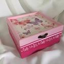 Pillangók..., Otthon, lakberendezés, Dekoráció, Ékszer, Ékszertartó, Ez egy 17X17X8 cm-es antikolt dobozka... ékszereknek, apróságoknak..., Meska