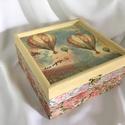 Rózsás léghajókon..., Otthon, lakberendezés, Dekoráció, Ékszer, Ékszertartó, Ez egy 17X17X8 cm-es antikolt dobozka... ékszereknek, apróságoknak..., Meska