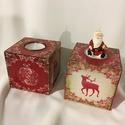 Mécsesek..., Dekoráció, Karácsonyi, adventi apróságok, Otthon, lakberendezés, Ünnepi dekoráció, 2 db piros-aranyban csillogó karácsonyi mécsestartó... Mérete:  8cmx8cmx8cm, Meska