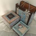 Havas, téli szett... ajándékoknak..., Karácsonyi, adventi apróságok, Otthon, lakberendezés, Tárolóeszköz, Karácsonyi dekoráció, Karácsony illatú kekszes doboz...,  ajándékszatyorka és egy apró dobozka az apró ajándéknak... :) Mé..., Meska