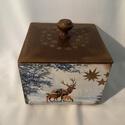 Karácsonyi bonbonos dobozka..., Dekoráció, Karácsonyi, adventi apróságok, Otthon, lakberendezés, Ünnepi dekoráció, Karácsonyi bonbonos dobozka... Mérete:12x12x10 cm, Meska