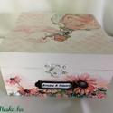 Happy wedding box... , Esküvő, Szerelmeseknek, Esküvői dekoráció, Decoupage, transzfer és szalvétatechnika, Festett tárgyak, Kedves, bohókás, de mégis finom esküvői dobozka... :) Mérete: 15x15x8 cm, Meska