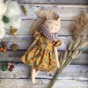Makkos őszi nyuszi baba, Őszi makk mintás fodros ujjú ruhás, alsó tül...