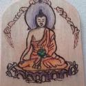 Buddha, Dekoráció, Otthon, lakberendezés, Kép, Falikép, Fára ,pirográf technikával és akvarellel készítettem ezt a Buddha képet.Elmélyülés,meditá..., Meska