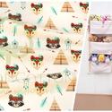Indiános textillel tároló, falra szerelhető 3 zsebes tároló - babaszobába pelenkatartónak, plüss állat tartónak, Otthon, lakberendezés, Bútor, Tárolóeszköz, Polc, RENDELÉST LEHET LEADNI a 3 rekeszes fali tároló típusra, a bal oldalon látható textilből készítve.  ..., Meska