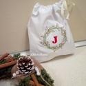 Karácsonyi zsák, személyre szóló ajándékzsák, Névvel hímzett ajándék tasak, Újrahasználható zsák, modern ajándékzsák, Cseréld le Te is az eldobható, egyszer használa...