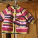 Vidám színes horgolt kabát sapkával, Ruha, divat, cipő, Baba-mama-gyerek, Gyerekruha, Baba (0-1év), Horgolás, Vidám, színes horgolt kabát sapkával, 9-12 hónapos méret, baba-barát fonalból készült., Meska