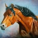 """Száguldás"""" olajfestmény (Ló portré)"""