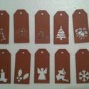 Barna karácsonyi ajándékkísérő kártya csomag, Dekoráció, Ünnepi dekoráció, Karácsonyi, adventi apróságok, Ajándékkísérő, képeslap, Mindenmás, Egyszerű, de mutatós ajándékkísérő kártya a karácsonyi csomagok feldíszítéséhez. Vastag kartonból k..., Meska