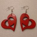 Szív alakú fa fülbevaló, Ékszer, Fülbevaló, Romantikus ember vagyok.  Régóta álmodoztam szív alakú fülbevalóról. Megálmodtam, a férjem..., Meska